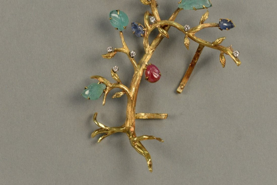 18K brooch in form of a tree with seven diamonds and - 3