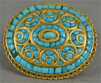 18K gold brooch set with Persian turquoise