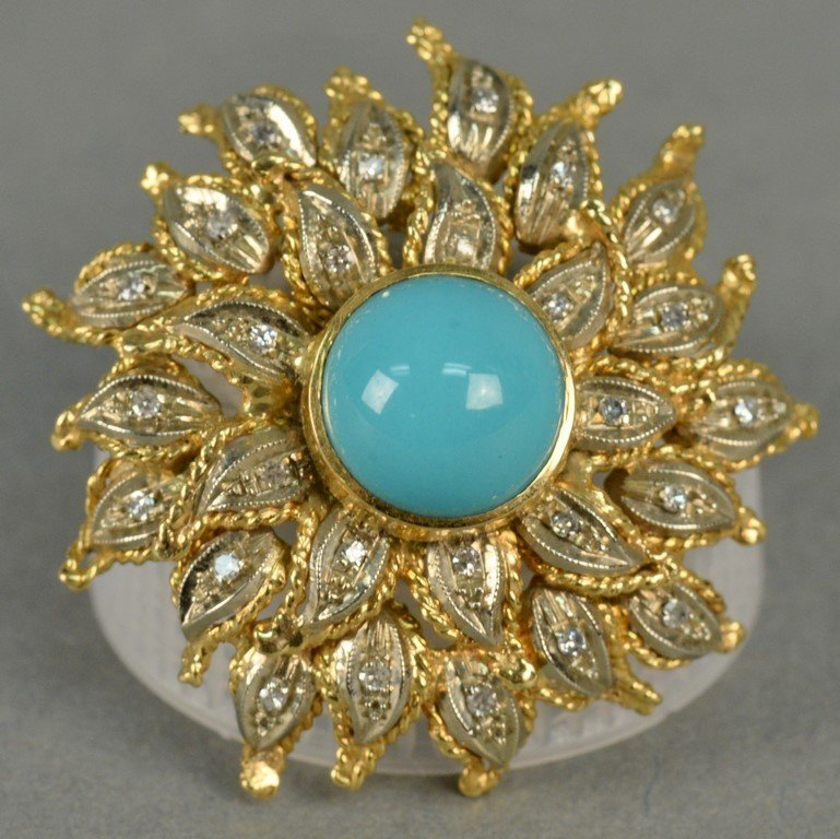 18K sunflower brooch set with diamonds and center