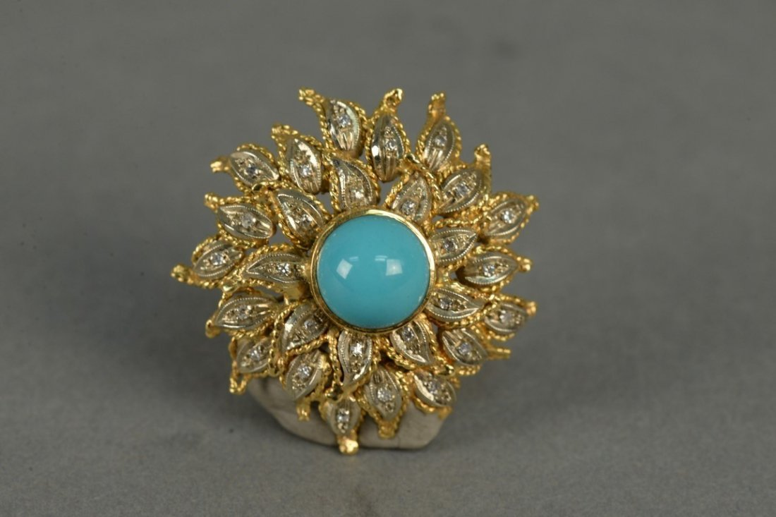 18K sunflower brooch set with diamonds and center - 2