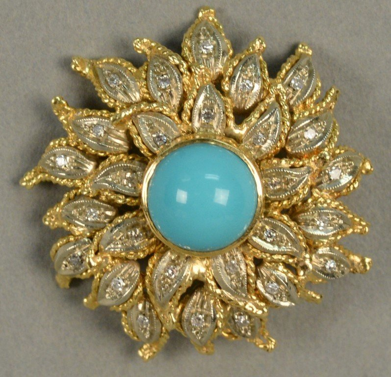 18K sunflower brooch set with diamonds and center - 3
