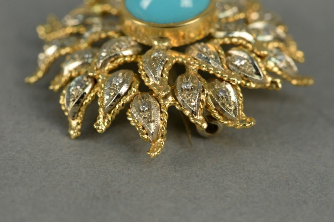 18K sunflower brooch set with diamonds and center - 4
