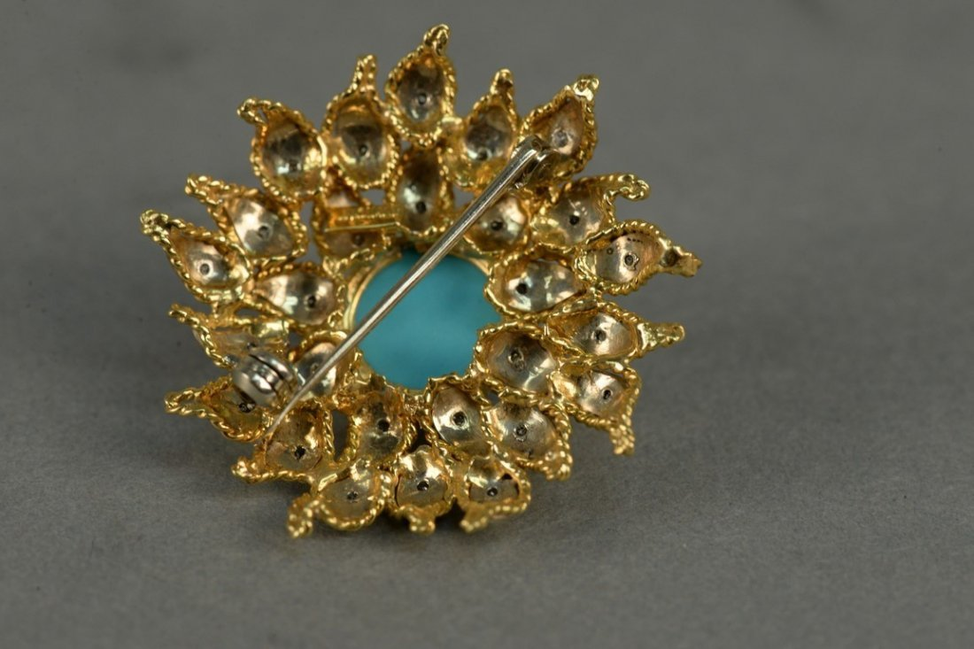 18K sunflower brooch set with diamonds and center - 5