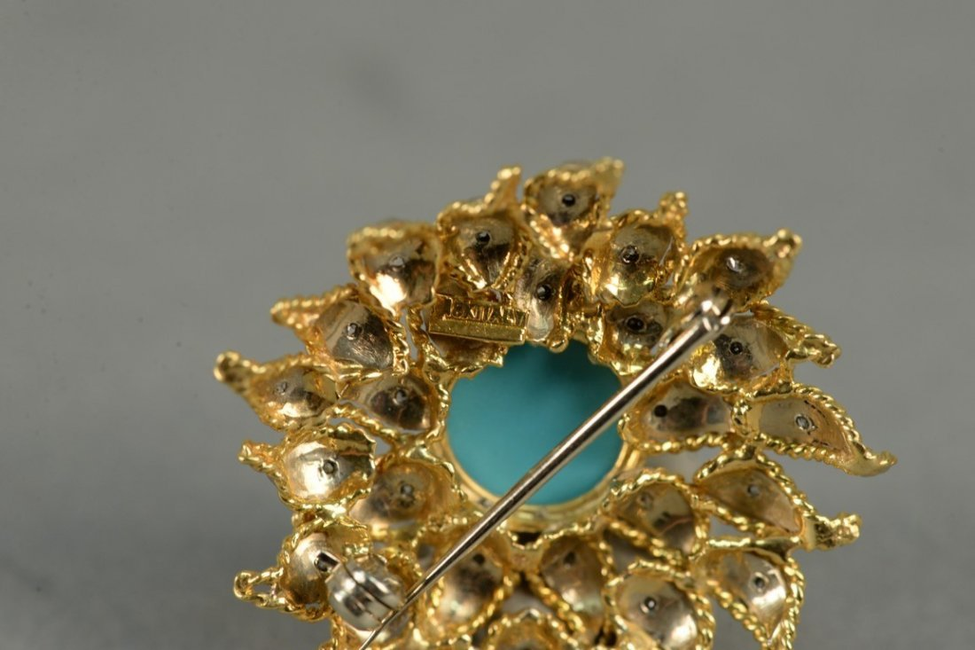 18K sunflower brooch set with diamonds and center - 6