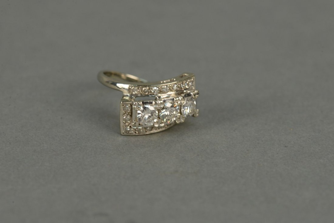 14K ladies ring set with three round diamonds - 2