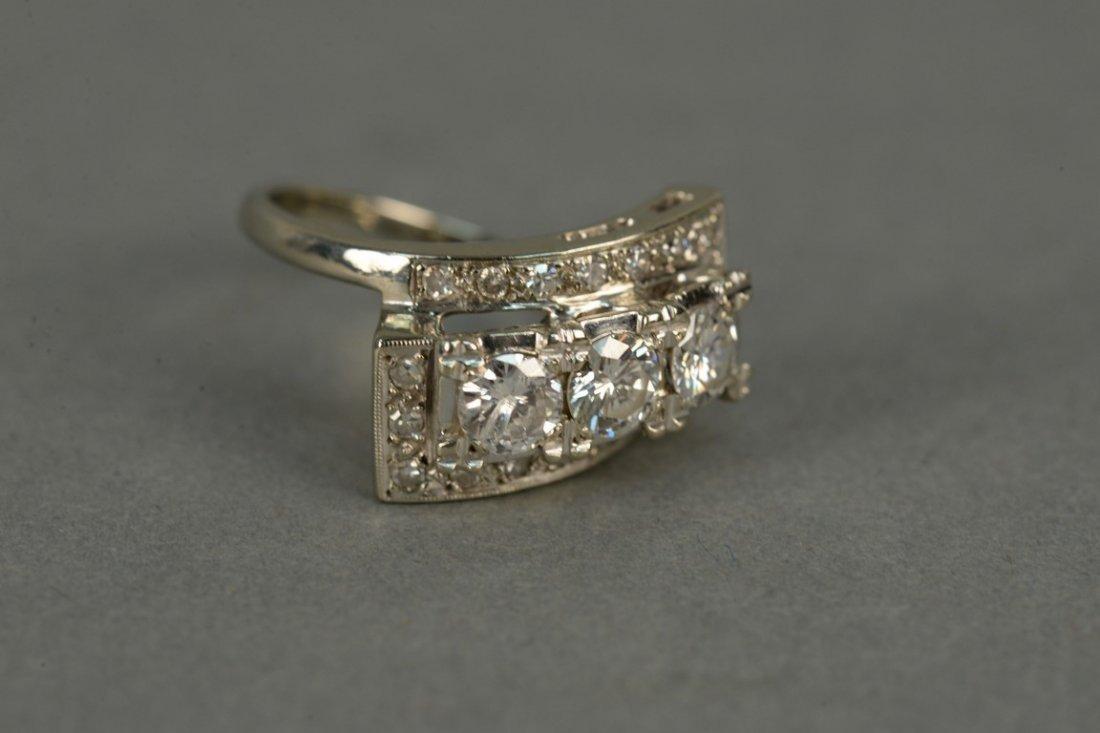14K ladies ring set with three round diamonds - 3