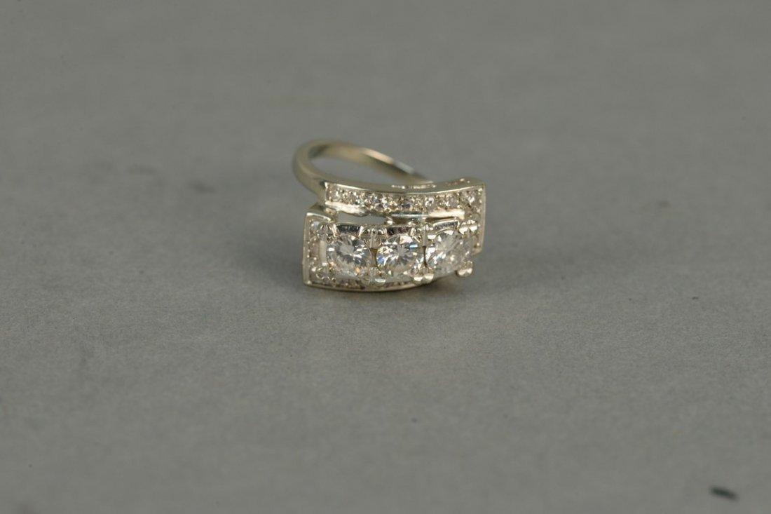 14K ladies ring set with three round diamonds - 4