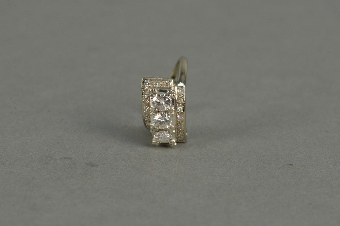 14K ladies ring set with three round diamonds - 6