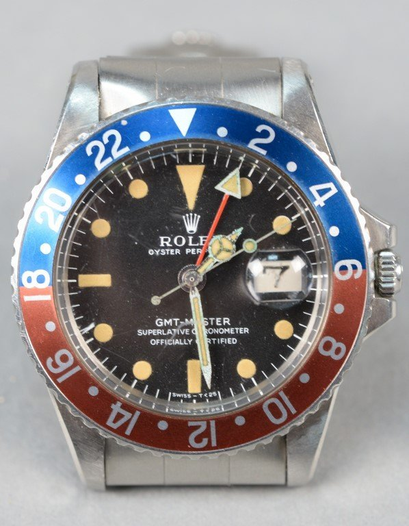 Rolex stainless steel wristwatch GMT Master model 1675,