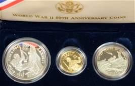 World War II 50th Anniversary Commemorative coins three