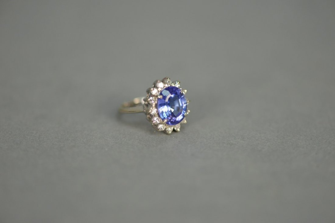 14K white gold ring set with center blue tanzanite - 2