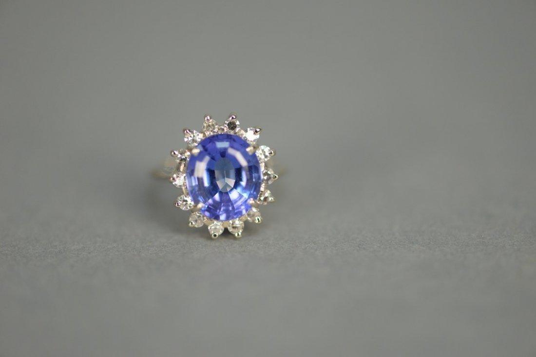 14K white gold ring set with center blue tanzanite - 3