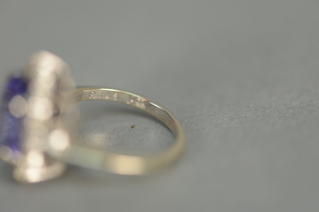 14K white gold ring set with center blue tanzanite - 4
