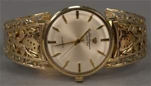 Jules Jurgensen 14K gold wristwatch with 14K open work
