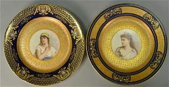 Two Royal Vienna portrait plates to include a hand