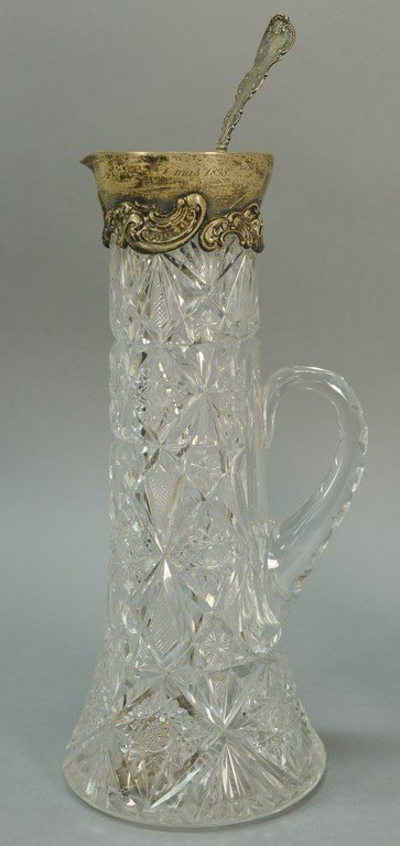 Two piece lot to include cut glass pitcher with