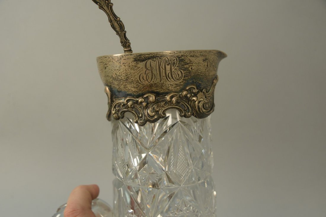 Two piece lot to include cut glass pitcher with - 3