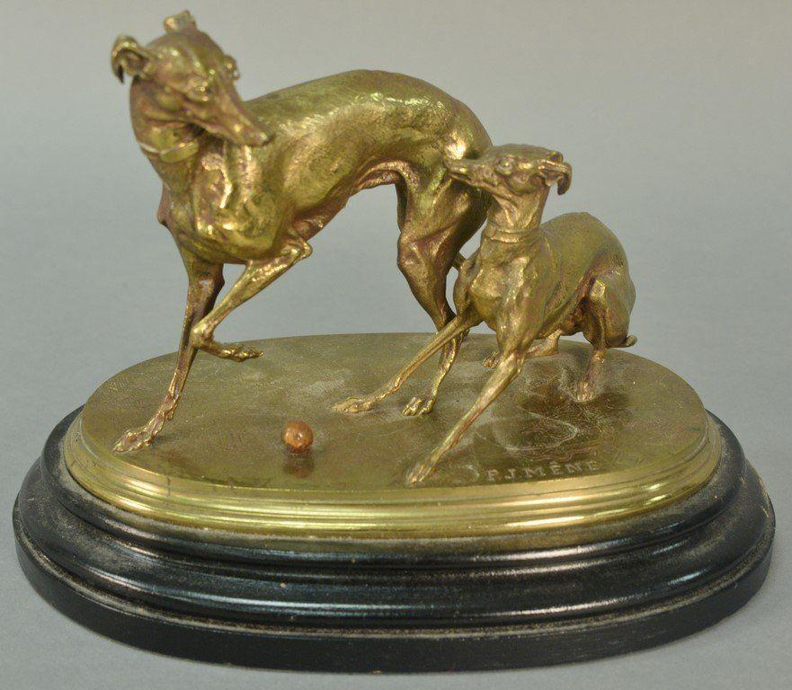"""Pierre Jules Mene (1810-1879)  bronze  """"Deux Levrettes"""