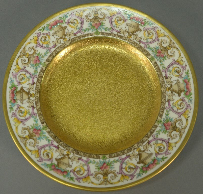 Set of twelve Minton luncheon plates with encrusted