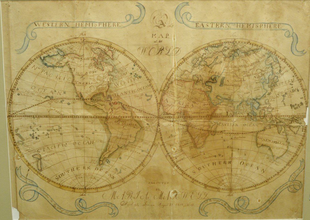 Hand drawn map of the world, Eastern and Western