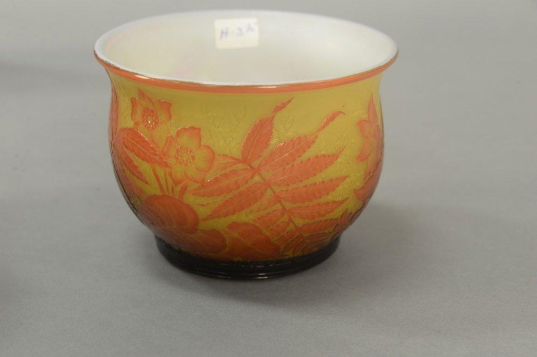 Webb cameo glass bowl, fern and flower design having - 3
