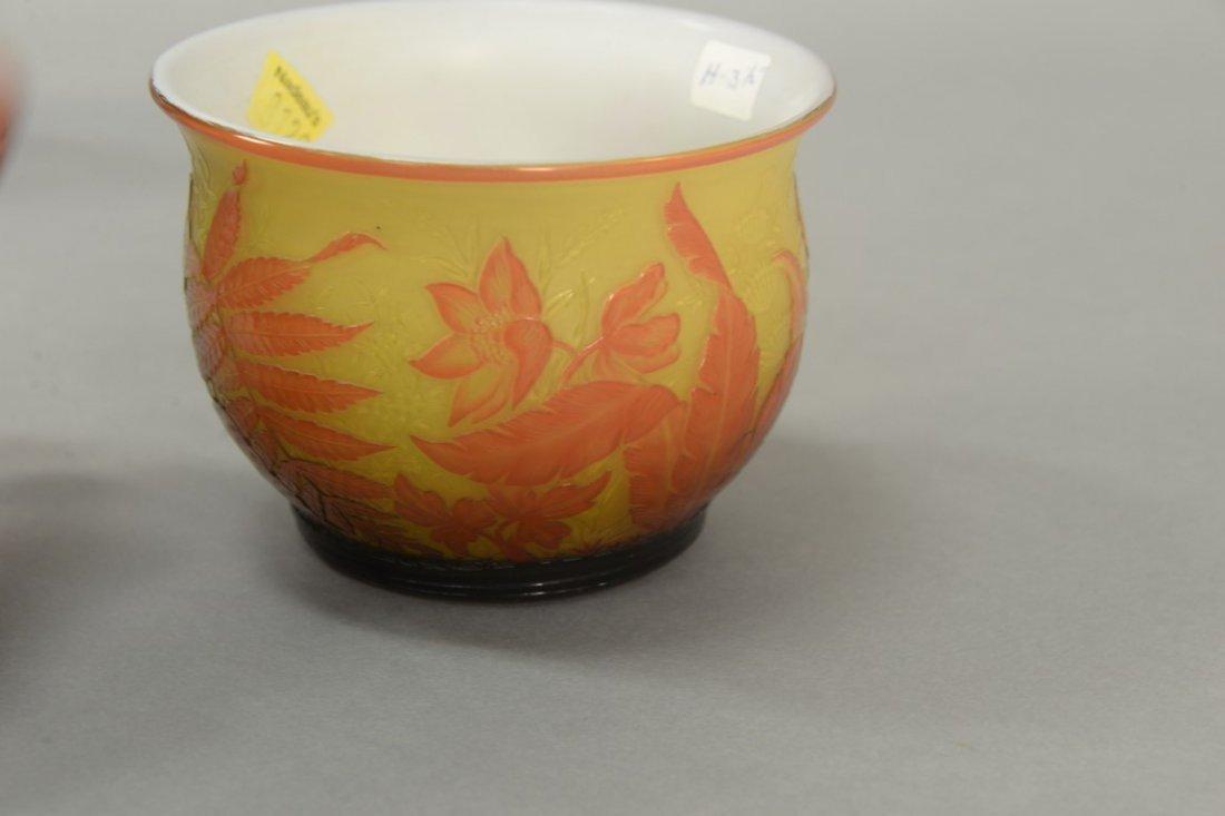 Webb cameo glass bowl, fern and flower design having - 4