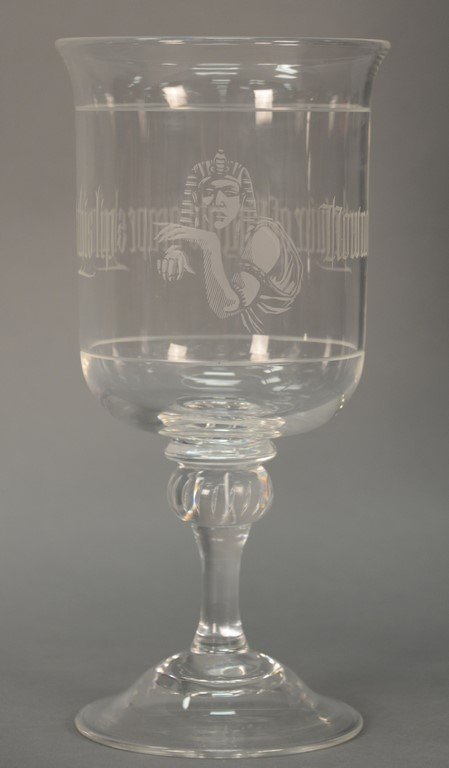 """Steuben crystal stemmed """"Now No More the Juice of"""