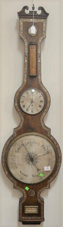 Horatio Yeates rosewood wheel barometer clock having