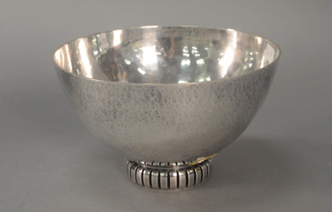 Cohr Denmark hand hammered sterling silver footed bowl,