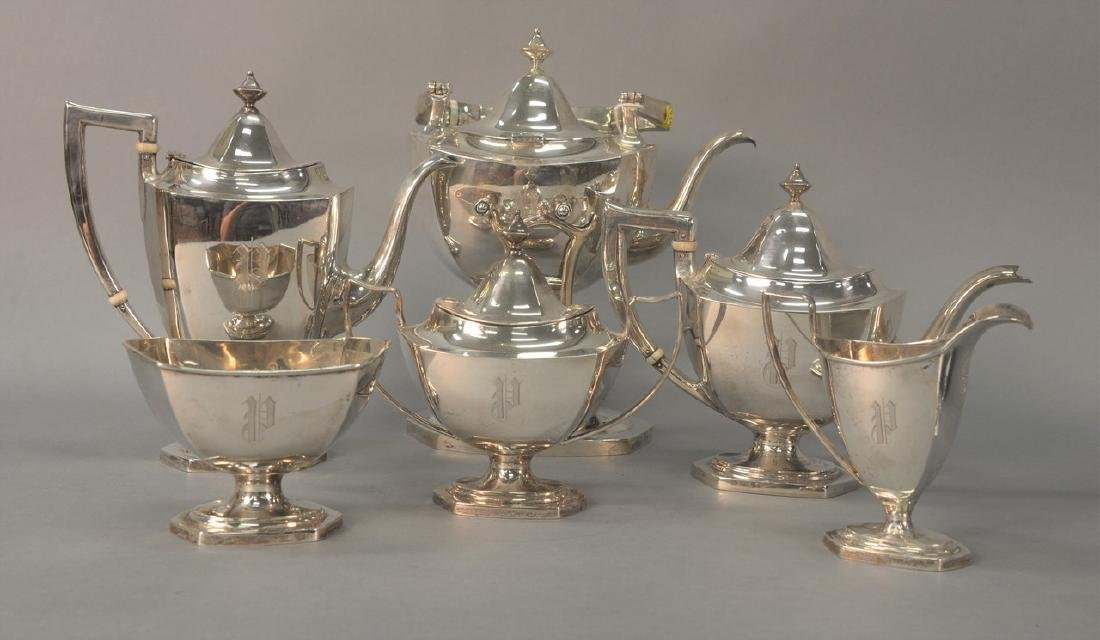 Six piece sterling silver tea and coffee set with