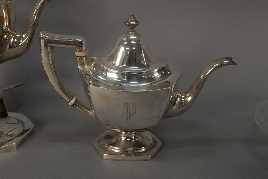 Six piece sterling silver tea and coffee set with - 7