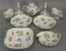 Nine piece Herend Queen Victoria table articles