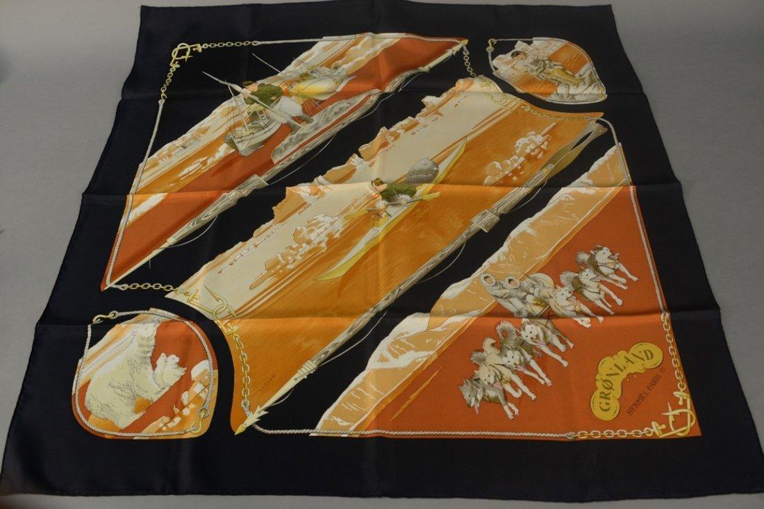 "Hermes Paris silk scarf ""Gronland"" by Philippe Ledoux,"
