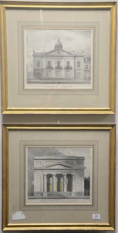 Pair of Architectural lithographs  Anthony Imberts