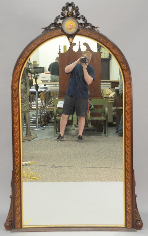 Victorian rosewood pier mirror having hand painted