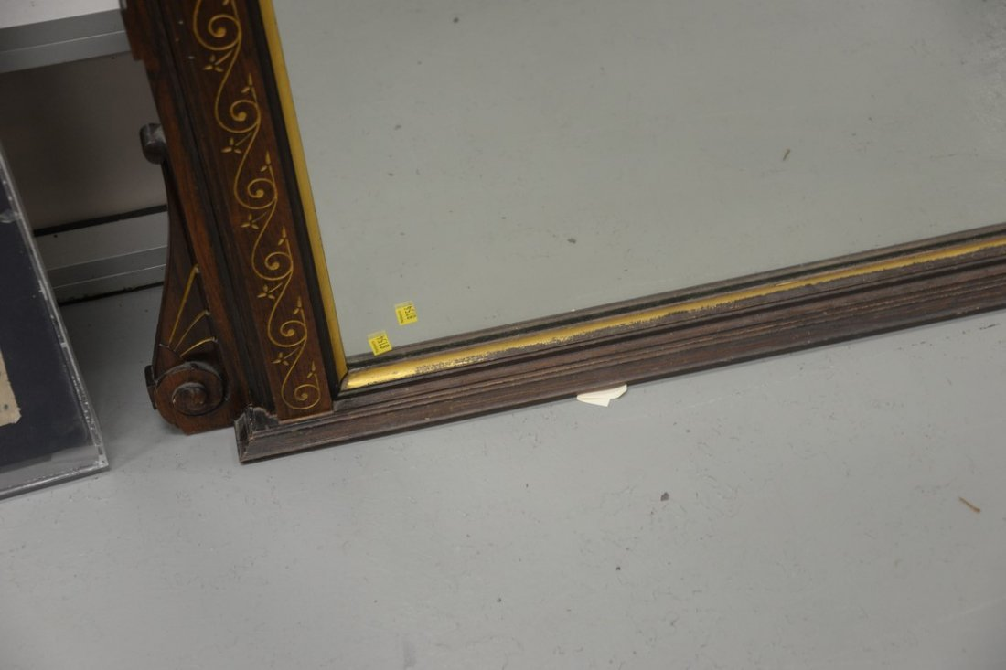 Victorian rosewood pier mirror having hand painted - 5