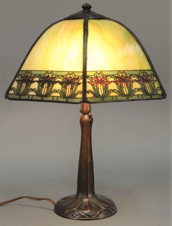 Handel table panel lamp having slag glass shade with