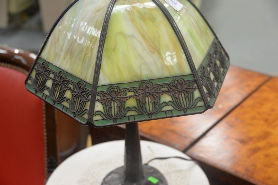 Handel table panel lamp having slag glass shade with - 3