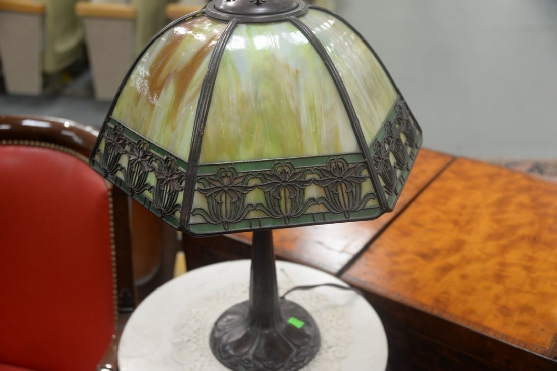 Handel table panel lamp having slag glass shade with - 4
