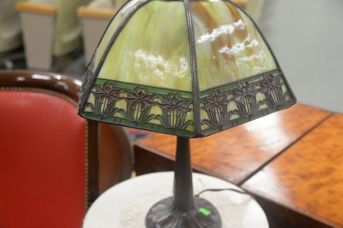 Handel table panel lamp having slag glass shade with - 5