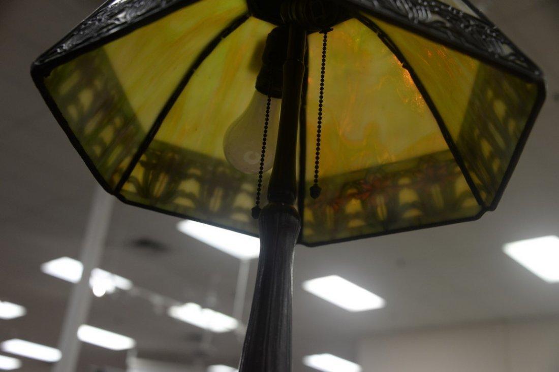 Handel table panel lamp having slag glass shade with - 6