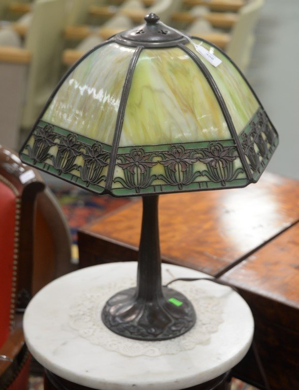 Handel table panel lamp having slag glass shade with - 8