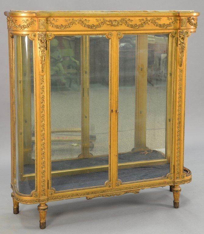 Louis XVI style gilt vitrine having onyx top on cabinet
