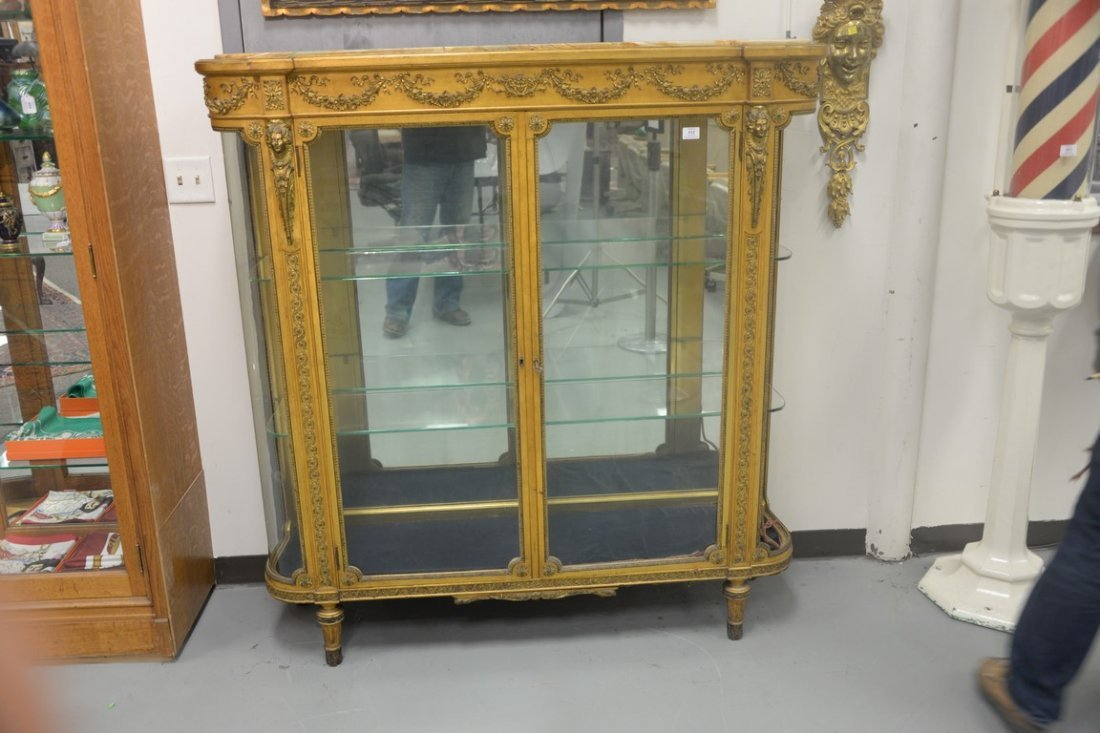 Louis XVI style gilt vitrine having onyx top on cabinet - 2