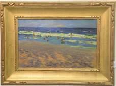 Early 20th Century oil on board Sunny Beach Scene