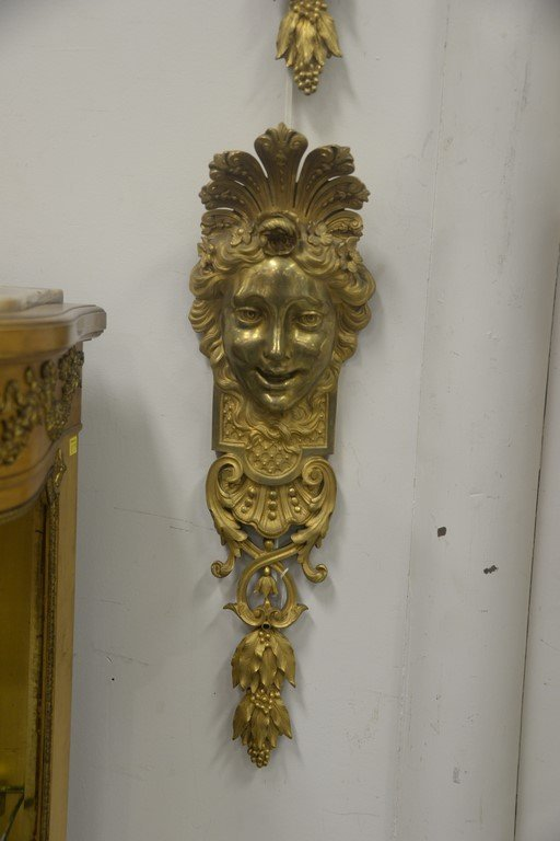 Pair of gilt bronze wall hangings with ladies face over - 2
