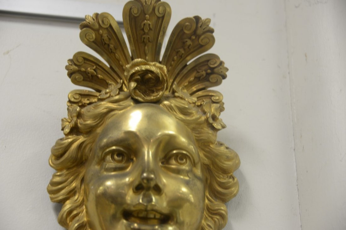 Pair of gilt bronze wall hangings with ladies face over - 3