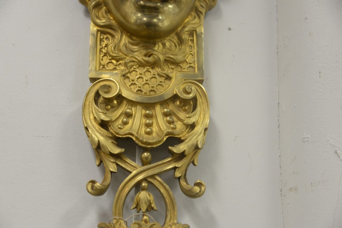Pair of gilt bronze wall hangings with ladies face over - 4