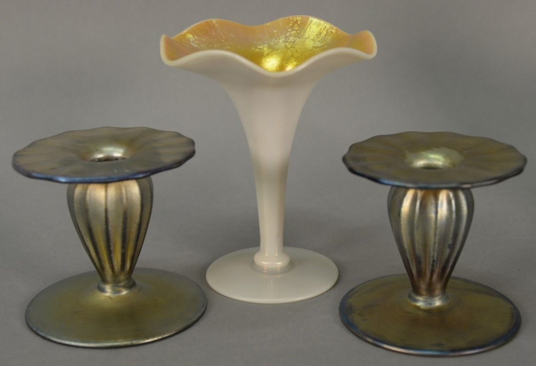Three piece lot to include a pair of Nash art glass