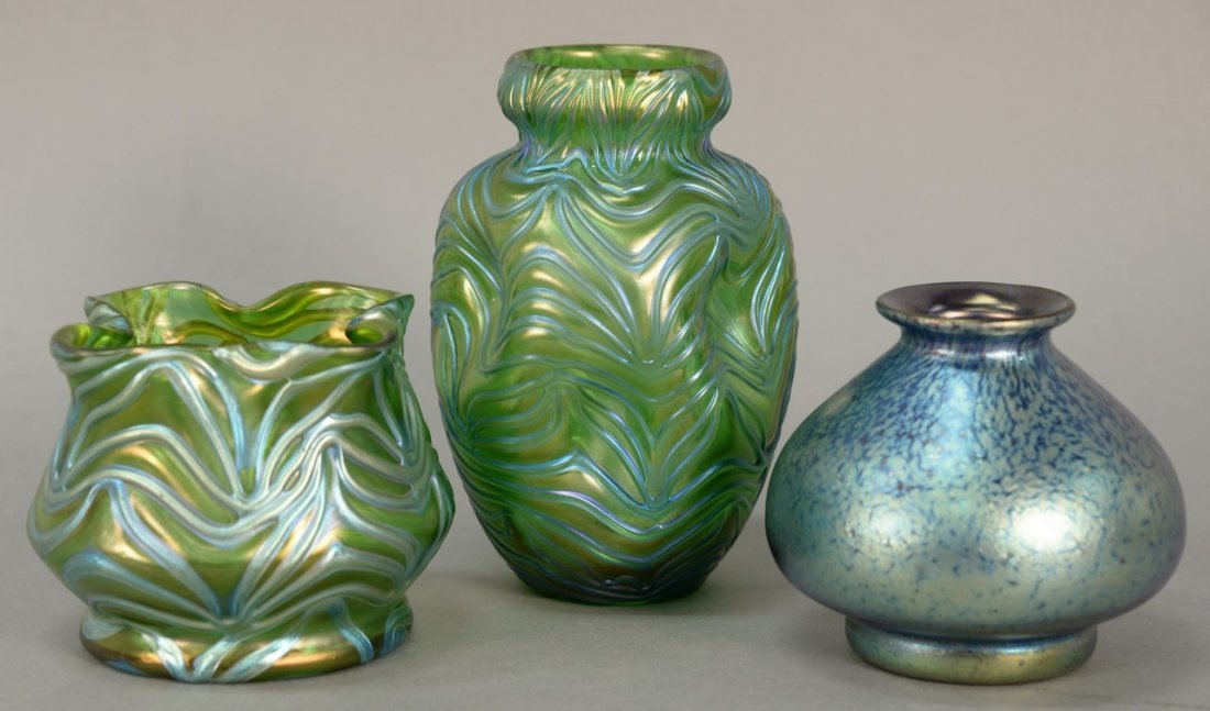 Three Loetz art glass vases to include a green oil spot